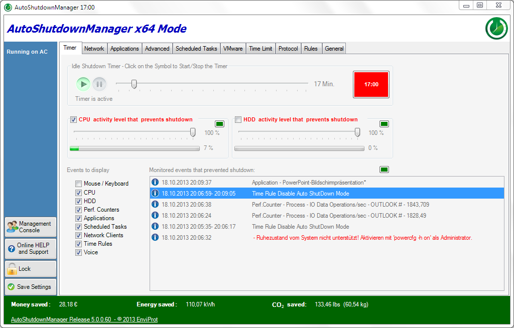 Auto Shutdown Manager Screen shot