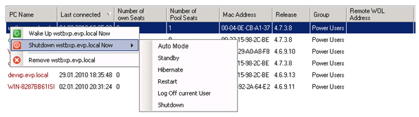 WOL and remote shutdown centrally managed