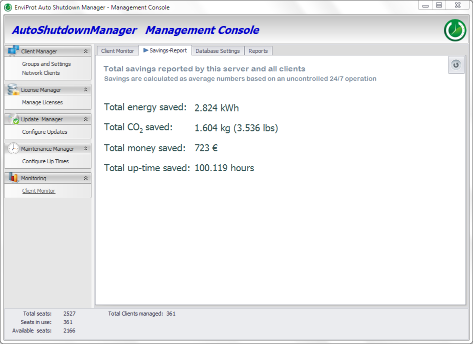 PC Power Management Savings Report